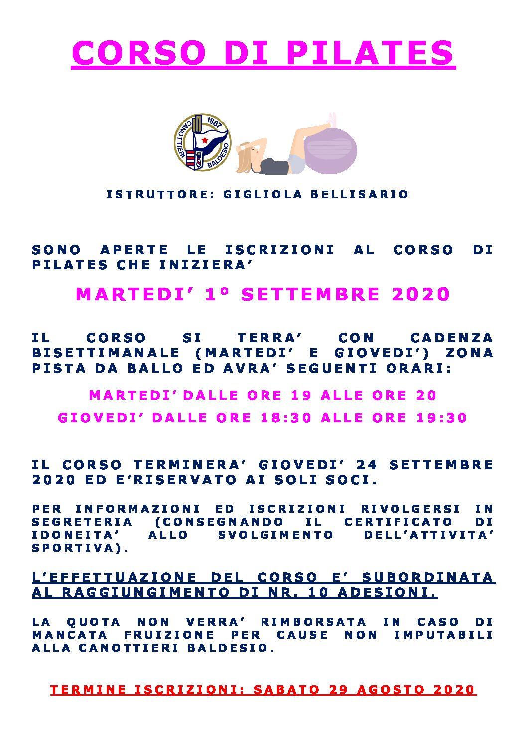 CORSO DI PILATES INIZIO 1 SETTEMBRE 2020 – Società Canottieri Baldesio